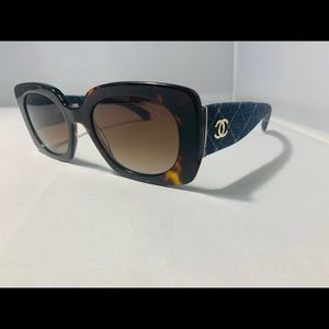 NEW $485! CHANEL Rectangle Tortoise Denim Sunglass